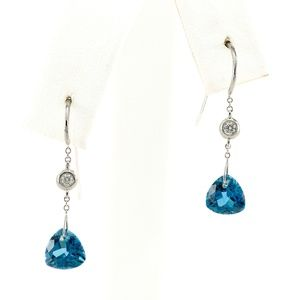 Jewelry - 18K Diamond & Topaz Trillion Cut Dangle Earrings